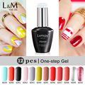 12 PCS Lvmay One Step Gel Gorgeous Soak Off UV Gel The Best 3 in 1 Gel Color Gel Nails Nail Polish not need base and top coat