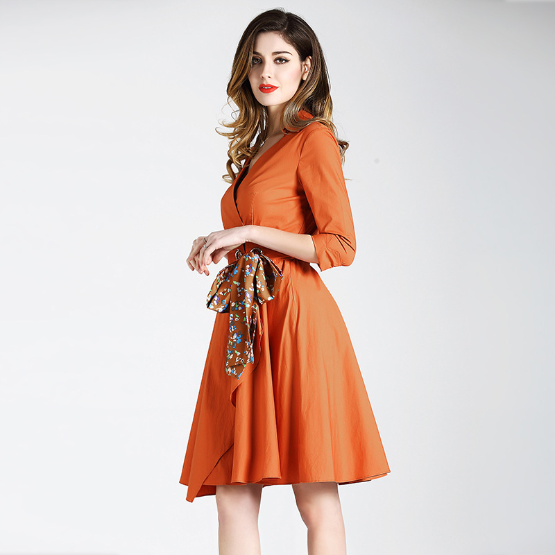 BURDULLY 2018 New Dress Women Summer Deep v collar Orange Cotton Dresses Flounced Big Hem Slim Floral belt Female elegant women