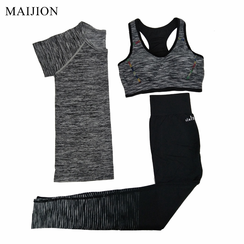 MAIJION Women Quick Dry Yoga Sets for Gym Running Yoga T-Shirt Tops & Sports Bra Vest & Fitness Pants Workout Sports Suit Set ayopanda 2017 new yoga pants women leopard printed fitness gym sports legging quick dry workout trousers hot sale running tights