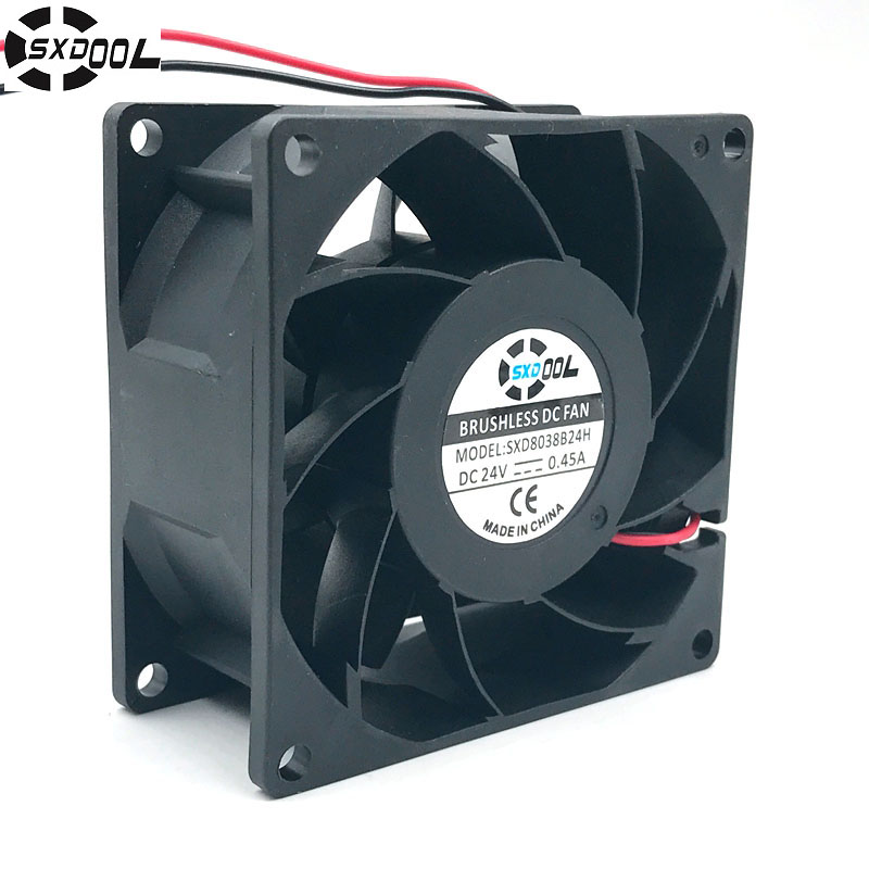 SXDOOL SXD8038B24H 80*80*38mm DC 24V brushless cooling fan 0.45A 6000RPM 83.5CFM 57DBA for server inverter case цена