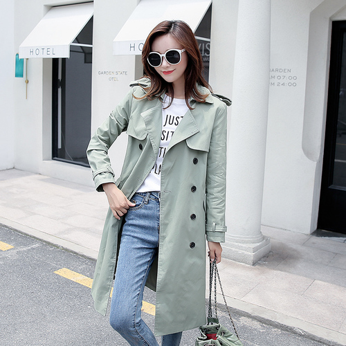 2018 New Style Autumn Korean Version Spring And Long Over Knee Female Windbreaker Women   Trench