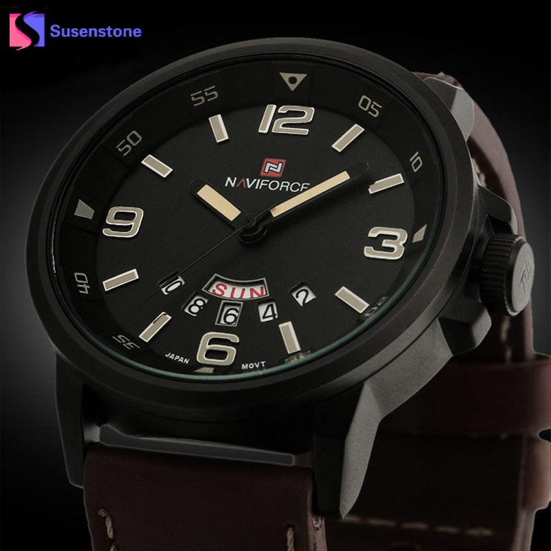 Luxury Waterproof Watch Men Analog Quartz Watch Synthetic Leather Double Calendar Date Mens Army Military Sports Wrist Watches