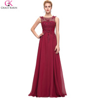 Elegant Long Evening Dresses 2016 Robe Grace Karin Chiffon Sleeveless Applique Open Back Red Formal Dress