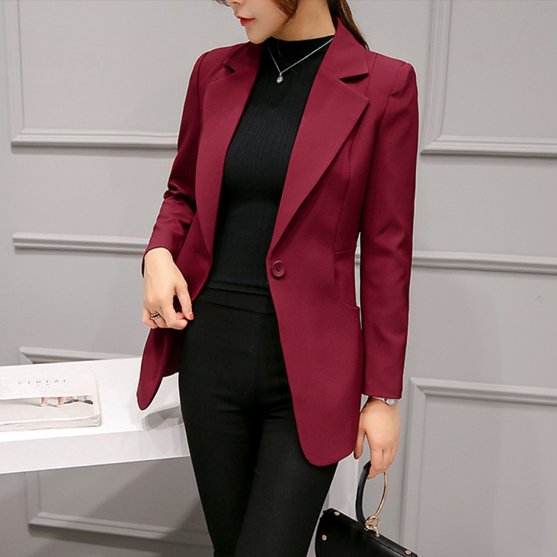 Top-Blazer Outwear Suit-Jackets Short-Design Work Office Long-Sleeve Gray Navy-Blue Women title=