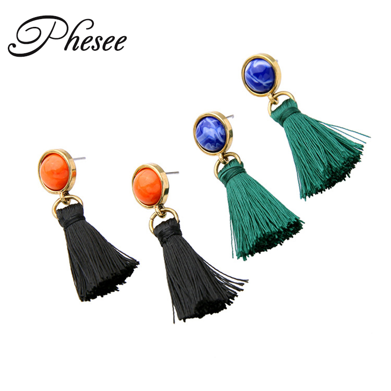 Phesee 2017 New Design Green Black Tassel Stud Earrings Ethnic Jewelry for Women Earrings Jewelry Good Quality