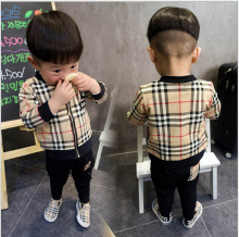 2015 autumn and spring handsome child clothing Baby boy grid zipper cardigan set kid boys and girls  long  sleeve suit
