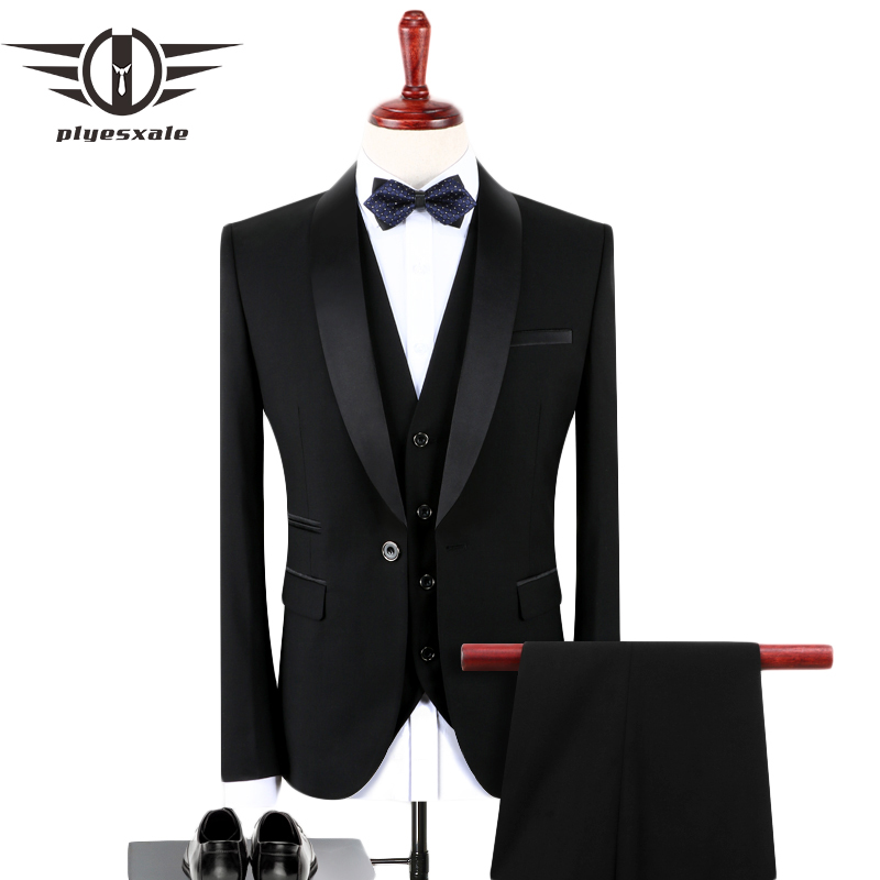 Plyesxale Black Suit Men 2018 Slim Fit Groom Wedding Suits For Men Stylish Brand Shawl Collar Formal Business Dress Suits Q128