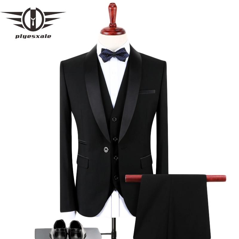 Erkek Kıyafeti'ten T. Elbise'de Plyesxale Siyah Erkekler 2018 Slim Fit Damat Düğün Takımları Erkekler Için Şık Marka Şal Yaka Resmi Iş Elbisesi Takım Elbise q128'da  Grup 1