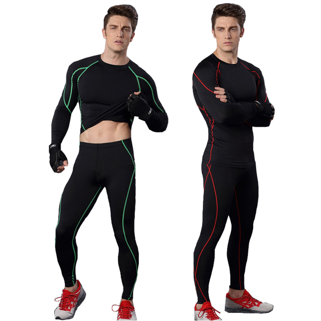 6662b4a974157 Men fitness activewear sets [top and leggings] long sleeve t shirts trouser  quick dry