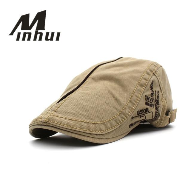 Minhui 2016 Novo Estilo Primavera Verão Cotton Beret Caps Homens cap letras  gorras casquette viseiras chapéu ee278e67a58