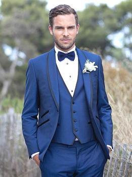Fashion Style One Button Blue Groom Tuxedos Groomsmen Men's Wedding Prom Suits Bridegroom (Jacket+Pants+Vest+Tie) K:574