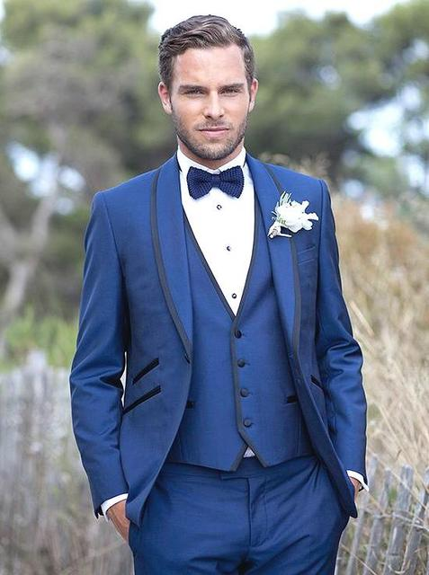 ec583bed0 Fashion Style One Button Blue Groom Tuxedos Groomsmen Men's Wedding Prom  Suits Bridegroom (Jacket+