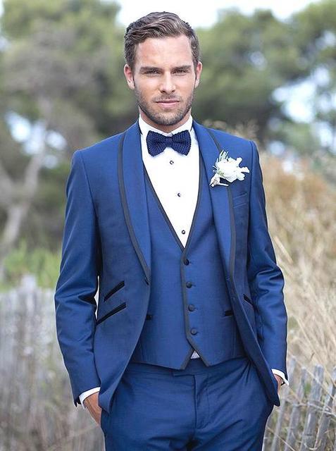 Moda um botão noivo smoking padrinhos de casamento Prom ternos noivo ( jaqueta + calça + colete + gravata ) K 574