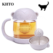 KHTO Creative Cartoon Cat Monkey Tea Infuser Mugs Coffee Glass Cup Teapot