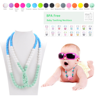 Wholesale BPA Free Silicone Chew Beads Silicone Teething Necklace 2016 New Arrival Fashion Long Necklace Women