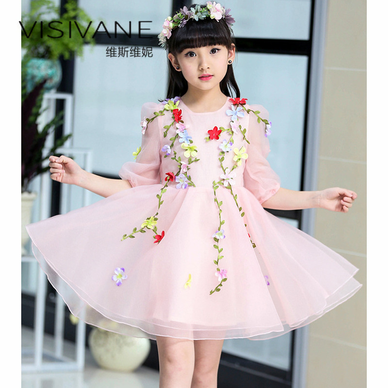 2018 Lace Girl Summer Clothes European Style Girls Dress Vestido De Festa Solid Party Princess Dress With Bow Baby Girl Dresses