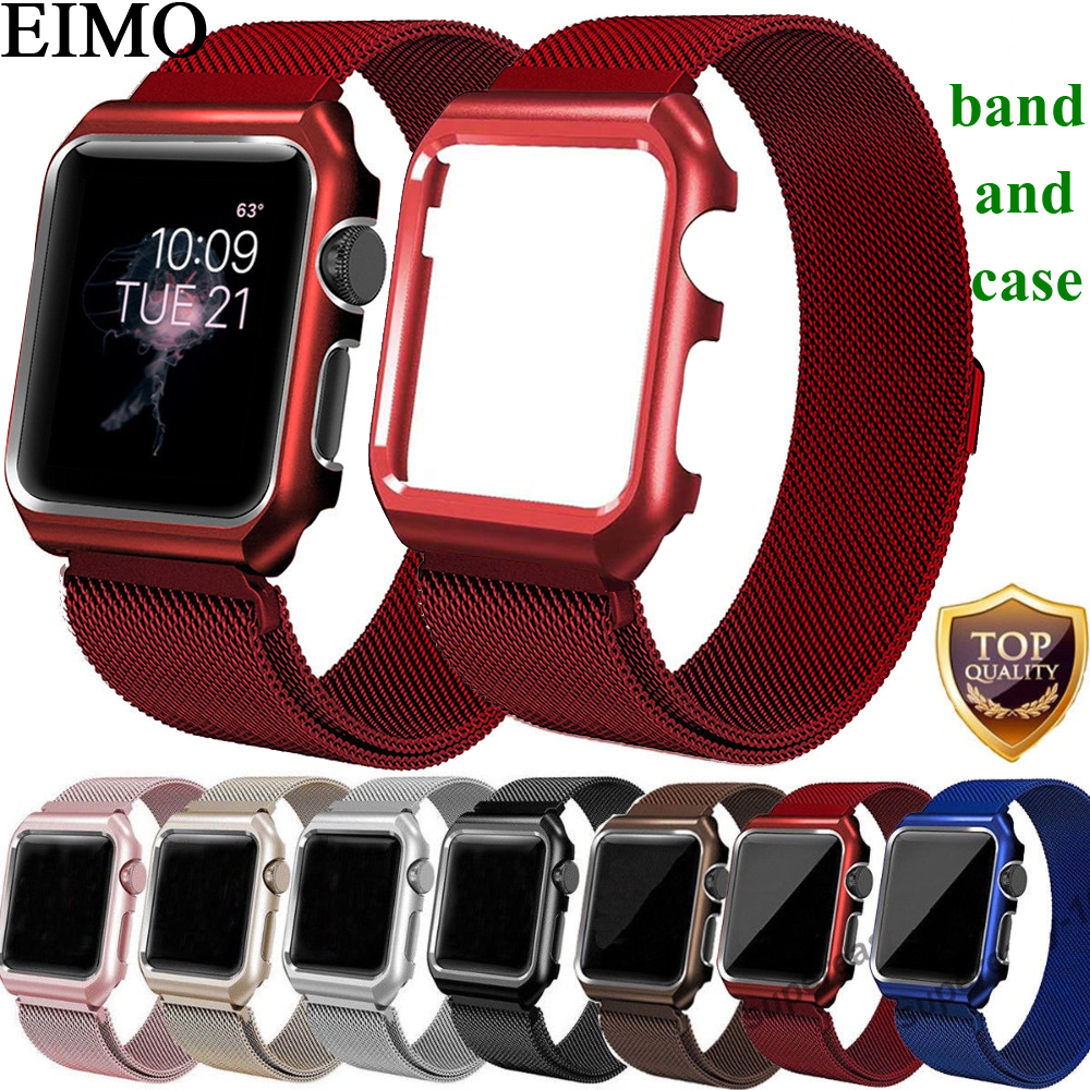 EIMO Milanese Loop Strap + Watch Case For Apple Watch band 42mm 38mm Stainless Steel Link Bracelet Wrist Watchbands iwatch 3/2/1 eimo silicone watch case strap for apple watch band 42mm 38mm bracelet wrist belt full screen protector case for iwatch 3 2 1