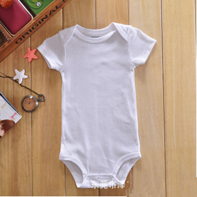 Wholesale Solid Color White Baby Bodysuit Short Sleeve Newborn Baby Onesie 3-24M 30Pcs/Lot Free Shipping