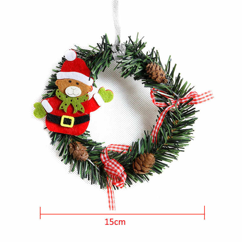 Small Christmas Wreaths.Small Christmas Wreath Cartoon With Pines Merry Christmas Wreaths Mini Xmas New Year Garland Nice Gift Xmas Wreath Dia 15cm