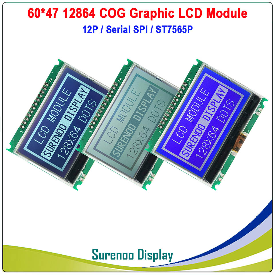 60X47MM 12864 128X64 COG Graphic Serial SPI LCD Module Display Screen LCM Build-in ST7565P & GT20L16S1Y In GB2312 Font Library
