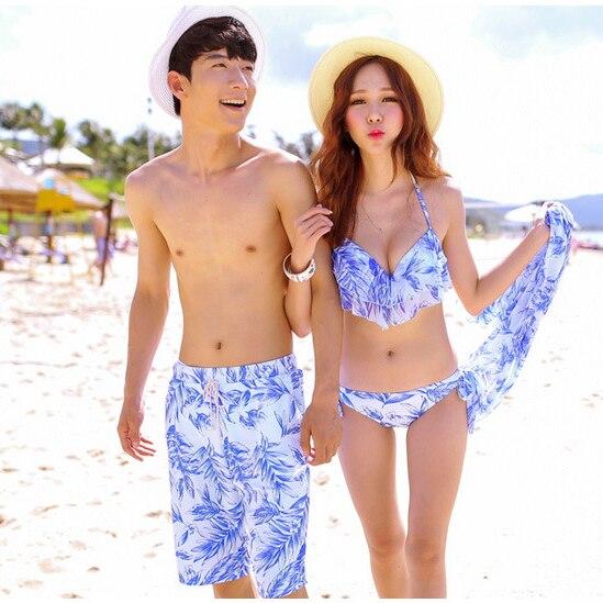 2018 New Men's Board Shorts Lover Shorts Couple Beach Wear Swimsuit Women Board Shorts Bikini Sets Couple Swimwear Sexy Bikinis