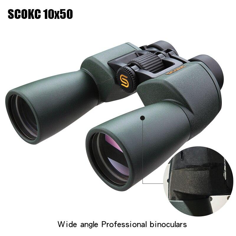 SCOKC Large Angle Puissant hd 10x50 jumelles pour observer les étoiles bak4 FMC puissance zoom longue portée télescope grand angle chasse