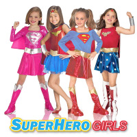 Deluxe Superhero Girls Costume Wonder Woman Supergirl Roleplay DC Superheros Fancy Dress Party Halloween Costumes for Kids