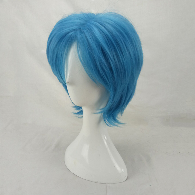 HAIRJOY Synthetic Hair Man Mint Green Layered Short Straight Male Cosplay Wig Free Shipping 5 Colors Available 54