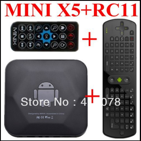 Hot MINIX NEO X5 RK3066 Dual Core Cortex A9 Google Android 4.1.1 TV Box USB RJ45 Wifi Bluetooth HDMI +RC11 Air Mouse Keyboard