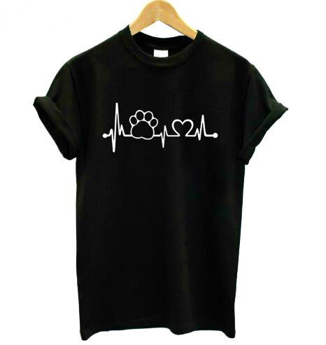 <font><b>Unisex</b></font> Casual Tees Paw Heartbeat Lifeline <font><b>dog</b></font> cat Cotton T-Shirt Graphic Aesthetic Hipster <font><b>tshirts</b></font> Tumblr Girl Tops Shirts S-3XL image