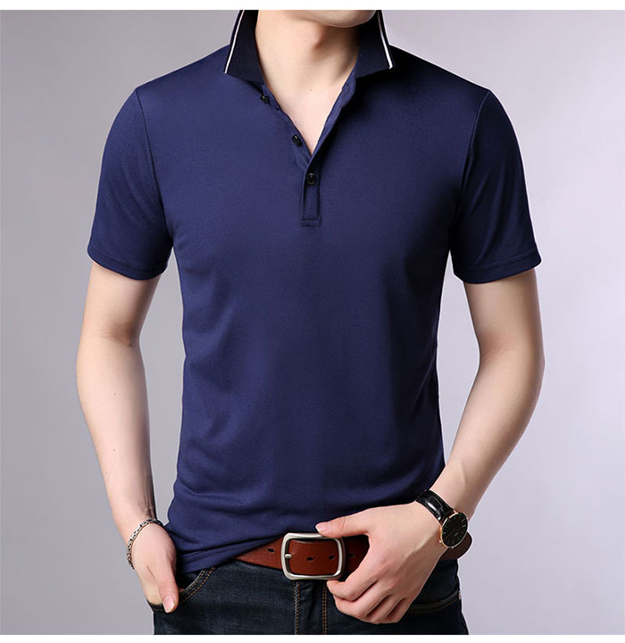 Baishanglin Brand clothing Men Polo Shirt Men Business Casual Solid Color Male Polo Shirt Short Sleeve High quality Pure Cotton 11