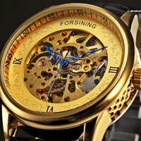 2018 Men Watches Top Brand Luxury Skeleton New Leather Automatic Mechanical Watch Mens Business Wristwatches Gold