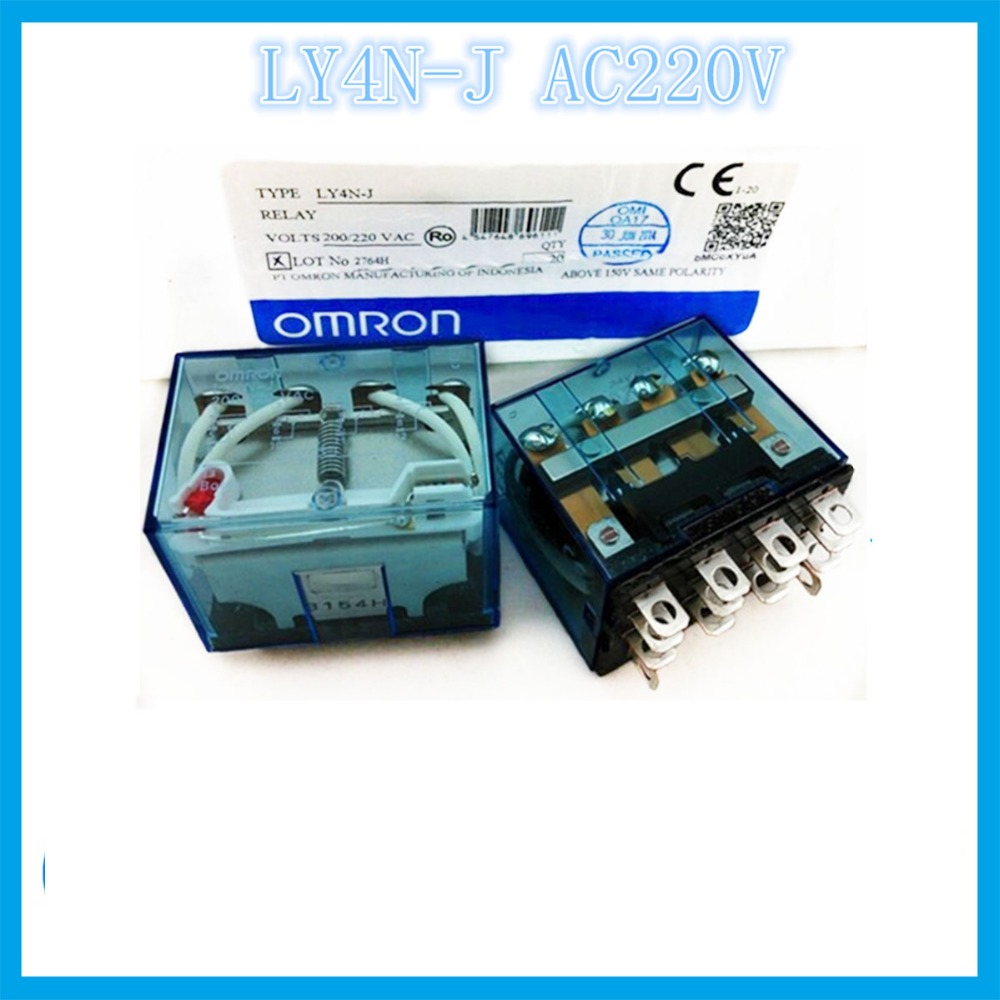 цена на LY4N-J AC220V 220/240VAC 14 feet 2A2B 10A OMRON relay Four open Four closed 14 needle electronic component solid state relays