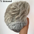 Gray white mix color brazilian malaysian women short Wig Tone Color Light Grey curly short bob for old woman wig