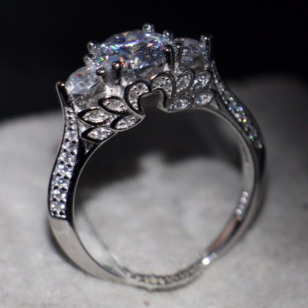 victoria wieck creative fashion jewelry 925 sterling silver three stone 5a cubic zirconia women wedding flower ring gift sz6 10 - Creative Wedding Rings