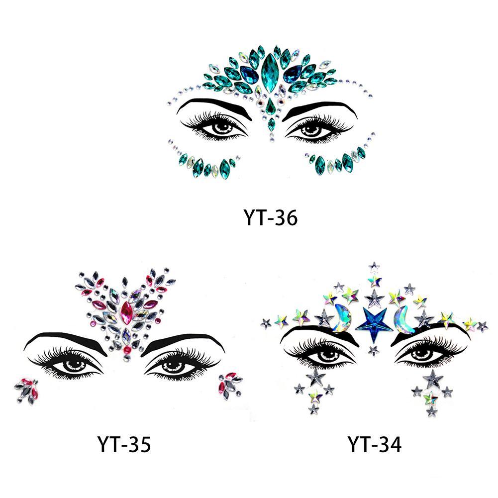 Acrylic Face Decoration Rhinestone Sticker Environmental Protection Shiny Bright Strass Face Decoration Beauty Makeup Tool