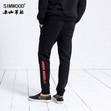 SIMWOOD markowe spodnie dresowe męskie 2020 moda zimowa sportowe spodnie do biegania męskie spodnie Casual nadrukowane litery hiphopowy sweter 180552