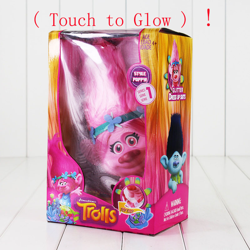 Фото Trolls Town Poppy Branch PVC Action Figure Toys With LED Light Touch Glow Hair Up Christmas Toys For Children