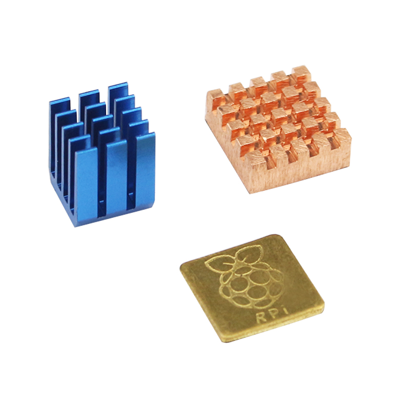 Raspberry Pi 3 Heat Sink Aluminum & Copper with Logo CPU Cooling Heat Sinks Pad Dissipador for Raspberry Pi 3 Model B+