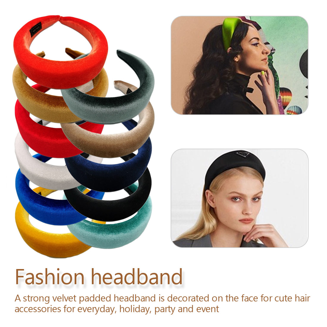 Unique Fashion Thick Velvet Headbands Women Wide Head Band  Elasticity Hairbands Elegant Girl Hair Accessories Vintage