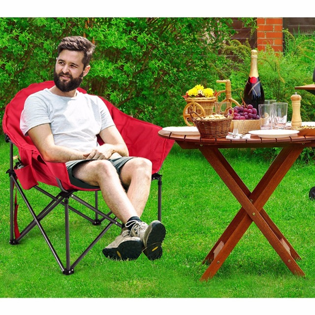 Padded Camping Chair Pier 1 Swing Giantex Oversized Saucer Moon Folding Seat W Cup Holder Carry Bag Outdoor Furniture Op3639