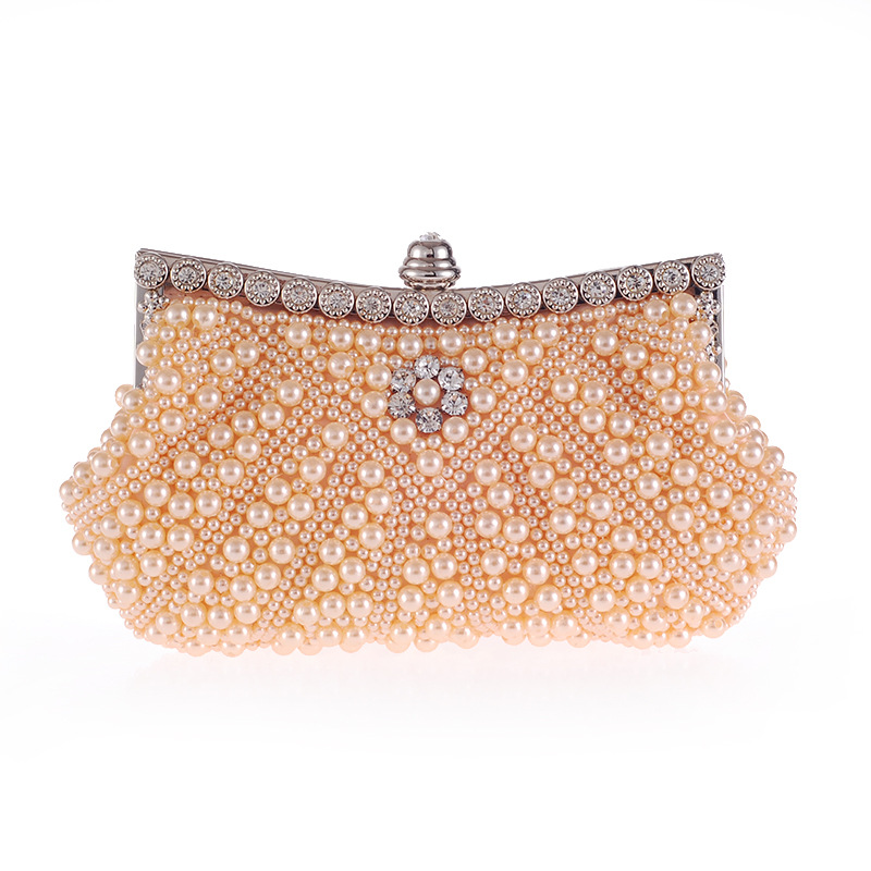 New Pearl Beading Solid Womens Evening Clutch Pouch Crystal Handbag Metal Frame Flap Hobos Metal Chain Shoulder Bag CrossbodyNew Pearl Beading Solid Womens Evening Clutch Pouch Crystal Handbag Metal Frame Flap Hobos Metal Chain Shoulder Bag Crossbody
