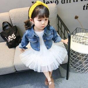 Image 3 - Trajes de primavera para niñas, Moda Infantil, vestido inferior + chaqueta vaquera, 2 uds. De ropa, vestido de malla, conjuntos de ropa, 2019