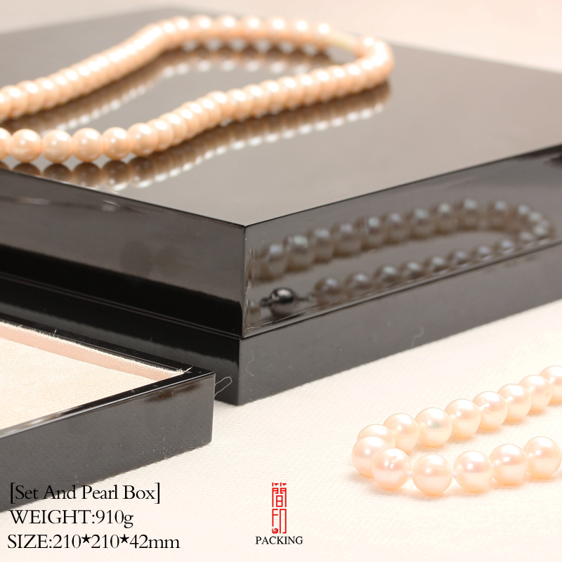 Top Quality Black Set Jewelry Box Lacquer Varnish Like Mirror International Jewelry Brand Standard Technology