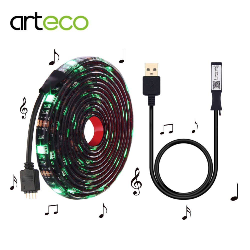 USB Bluetooth RGB LED strip set 0.5M/1M/2M led strip waterproof IP20 /IP65 + LED Strip controller For DC5V Music LED Controller