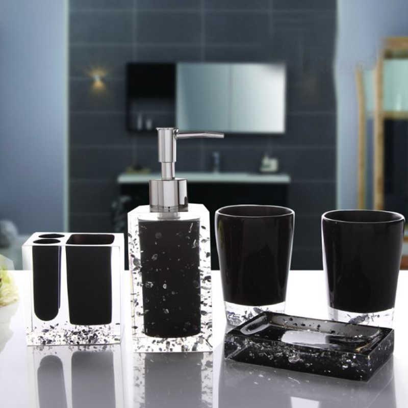 BAISPO 5/sztuk kryształ zestaw akcesoriów łazienkowych uchwyt na szczoteczkę do zębów balsam butelka Creative Suite łazienka akrylowe Ware strona główna dekoracji
