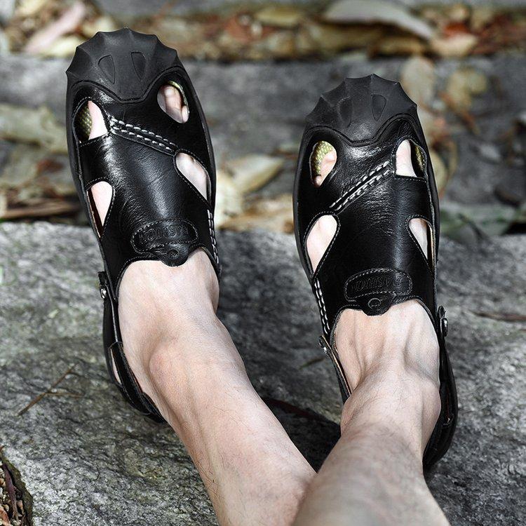 Noir En marron 2019 Air kaki Shose 38 46 Chaussures Plage Mâle Masculina Pour Sandalia Plein Hommes Confortable Cuir Sandales D'été Adulte 1HqwAdUH