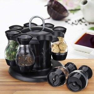 Image 3 - Salz Und Pfeffer Schüttler Set Von 8 Flaschen Mit 360 ° Rotierenden Halter Salz & Pfeffer Shaker Set