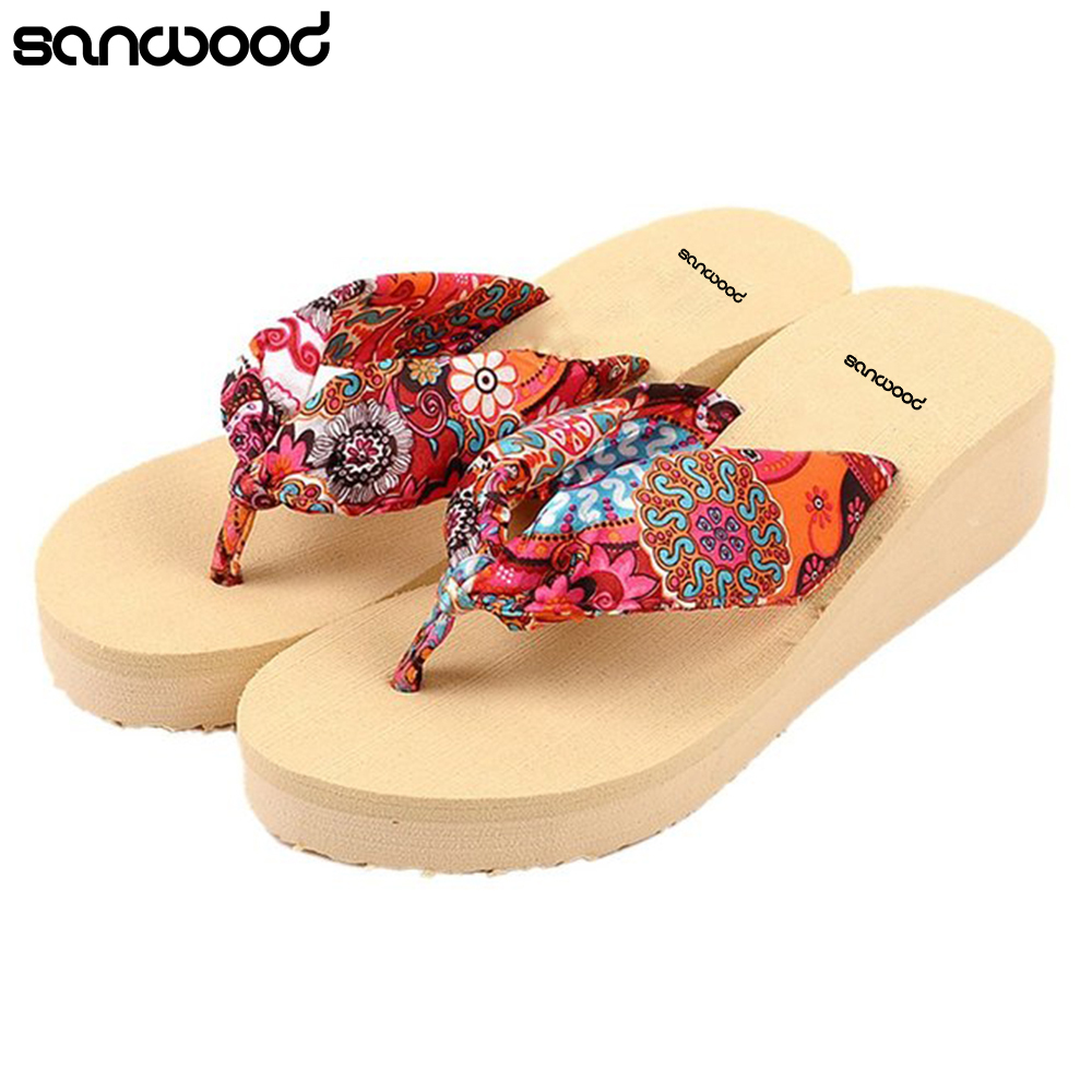 c97ca6e668b New Trendy Women Summer Beach Bohemia Floral Slippers Platform Wedges Thong Flip  Flops