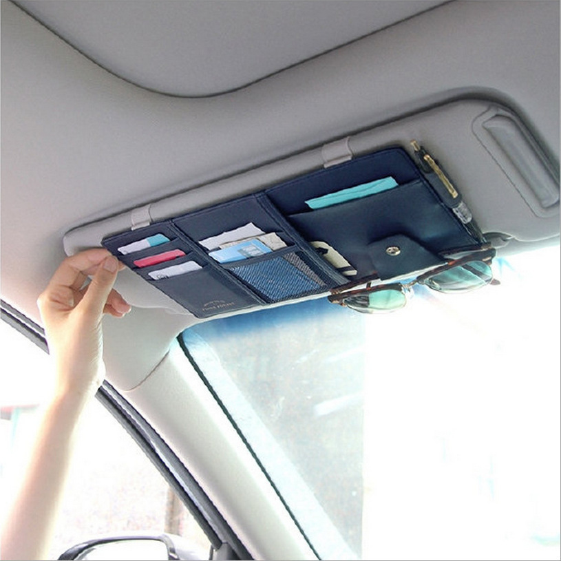 Multi functional PU Car Sunshade Storage Bag Multi use Car Organizer Mobile Phone Ticket Cards Eyeglass